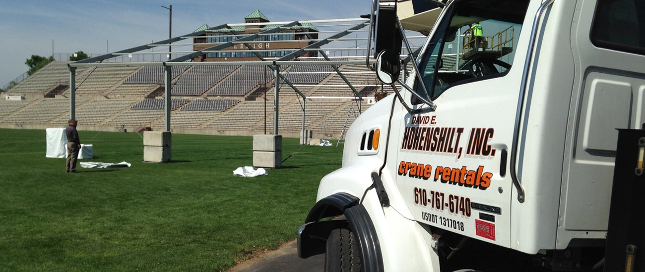 crane service for lehigh university football field