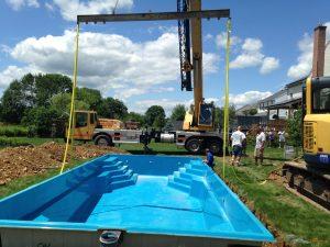 hohenshilt crane lowering swimming pool