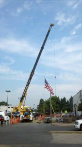 hohenshilt crane and american flag